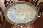 Antique Large Islamic Arabic Calligraphy Ovel Brass Tray Stamped Syria 27andrdquo X 18andrdquo