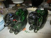 Lot Of Two Murano Green Glass Millefiori Solid Glass Dogs Bookends Paperweights