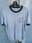Vintage New Jersey State Paper Thin Police Pba Local Union Ringer Shirt