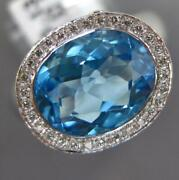 3.76ct Diamond And Aaa Blue Topaz 18kt White Gold Oval And Round Bezel Fun Love Ring