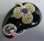 1.45ct White And Fancy Yellow Diamond Aaa Amethyst And Onyx 14kt White Gold Fun Ring