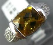 2.42ct Diamond And Aaa Citrine 14kt White Gold Cushion Filigree Promise Love Ring