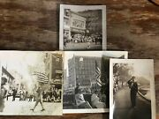 1950 4 Black And White Photos Of Parade Njmilitary,majorettes,drug Store,police