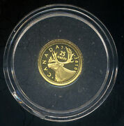 Canada 2010 Caribou .9999 Fine Gold Proof Coin .5g 25 Cents Coa Boxed Rcm