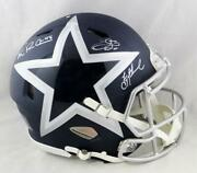 Irvin, Smith, Aikman Signed Cowboys F/s Amp Speed Authentic Helmet- Beckett Auth