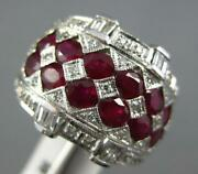 Large 3.37ct Diamond And Aaa Ruby 14kt White Gold Oval Multi Row Anniversary Ring
