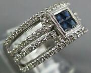 Wide .92ct Diamond And Aaa Sapphire 14k White Gold 3d Princess Invisible Love Ring