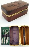 Antique French Ladies Travelling Writing / Sewing Box With Pen And Ink Provision