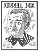 Karrell Fox Signed Caricature 1989 Magic Autograph Poster Gallery By Gary Darwin