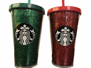 New Starbucks Holiday 2018 Set Of 2 16 Oz Cold Cup Tumbler Red Green Glitter