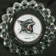 Gallerie Rabindra 1978 - Vintage Yawning Cat Glass Ash Tray Hollywood Ca