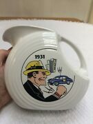 Homer Laughlin Post 86 Fiesta Dick Tracy Disc Water Pitcher Prototype Rare