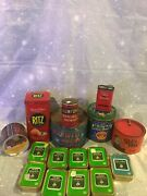 Lot Of 16 Vintage Tins Tobacco Ritz Milky Way Maxwell Sids Mix Stanley Crow