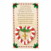Candy Cane Heart Christmas Ornaments On Card - Home Decor - 12 Pieces