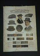 Antique 1917 Advertising Tailoring Caps Hats Belts Odd Fellows Masons Wotw Sign