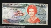 East Caribbean States Anguila 100 Dollars P25 1985 Queen Boat Map Rare Bank Note