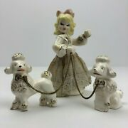 Vintage Ceramic Painted Girl Figurine With 2 Poodle Dogs On Chain Leashes