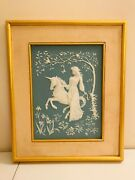 Franklin Mint Porcelain Wall Art Lady And The Unicorn George Mcmonigle Incolay