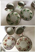 New 4 Pcs Japan Signed 2 Tea Coffee Cups 2 Saucer Set Red Or Green Set Label
