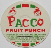 Vintage Milk Bottle Cap Pacco Fruit Punch Kids Pictured Unused New Old Stock