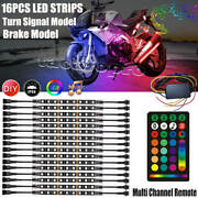 16x Rgb Motorcycle Led Light Underglow Body Glow Neon Accent Strip Music Control