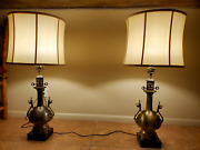 Antique French Brass Lamps - Silk Shades - Pair - 1000