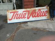 Large Original Vintage True Value Hardware Sign 10and039 Long Perfect Patina