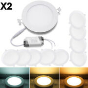 20 Pcs - 9w 12w 15w 18w 24w Led Recessed Ceiling Panel Down Lights Lamp Fixtures