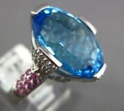 Large 12.75ct Diamond And Aaa Blue Topaz And Pink Sapphire 14kt White Gold Oval Ring