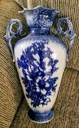 Large Chinese Porcelain Blue And White Vase W/ Hand Painted Flowers Dragon...