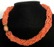 Natural Pink Coral Multi-strand Beads Necklace 18 Inches