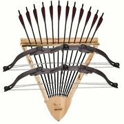 Hand Crafted 2 Bow And 12 Arrow Triangular Archer Wall Mount Display Rack Hunter