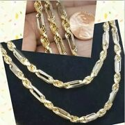 Gold 14k Figarope Chain Yellow White Semi-hollow Italy 30andrdquo Inch 39.5g 5mm