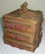 Antique Tramp Art Box W/ Applied Hearts Penna. Late 19th Century In Paint