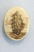 Antique Naval Scrimshaw Miniature Block And Tackle Hms Victory Nelson