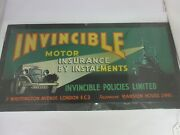 Vintage Invincible Insurance Advertising Tin Sign Excellent Condition 817-q