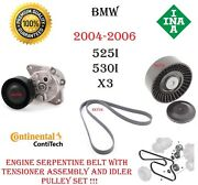 Bmw Belt Tensioner Assembly With Idler Pulley And Drive Belt E60 E83 525i 530i X3