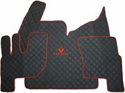 Set Black Floor Mats Carpet Engine Cover Renault T With Automatic Gearbox