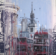 London Morning Original Painting By Kris Hardy - Cityscape