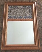 Sampler Abc Cross Stitch And Mirror In Wood Frame For Wall 22 Tall X 15 Wide