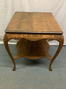 Antique Large Quartered Oak Lamp Side End Table Claw Feet