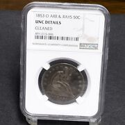 1853-o Liberty Seated Half Dollar - Arrows And Rays - Ngc Unc Details 29856