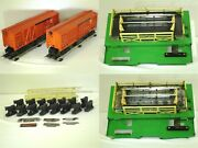 Lot Of 2 - Post-war Lionel No. 3656 Operating Cattle Cars And Corrals 1952-53