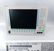 Pp9715 Simatic Panel Pc 670 Hmi Siemens 6av7615-0ab22-0cg0