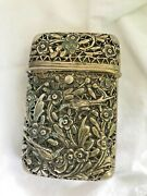 Vintage Cigarette Case Purse Silverplate Floral And Bird Hinged Button Closure