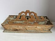 Antique Carved Wood Handled Cutlery Tray American C.1870 Old Grey Paint