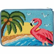 Alice Peterson Stitch And Zip Needlepoint Cosmetic Purse Kit - Flamingo