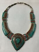 Beautiful Vintage Genuine Turquoise And Coral Inlay Native German Silver Choker
