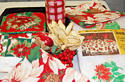 Christmas Table And Kitchen Linens, Silk Flowers, And Candle  X466