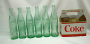 10oz. Coca-cola 1960and039s Green Glass Bottles Asstand039d States Set Of 6 W/carton S9265